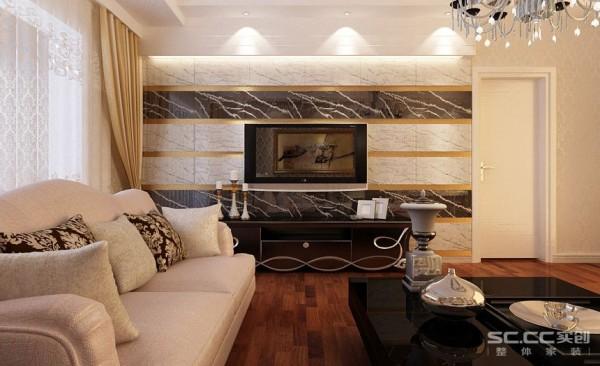 以现代的形式来结合一些稍微复杂的欧式元素夹杂一些金箔壁纸来搭配一个辉煌大气的电视墙和整体感,在电视墙里看到故事,并乐此不疲