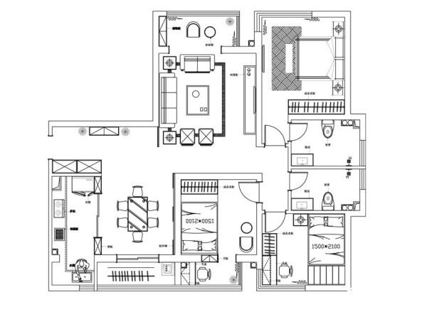 国龙绿城怡园120平欧式装修-户型图