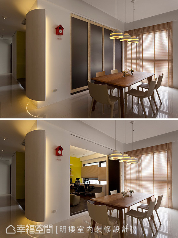 书房隔间以活动式折门表现,可视需求调整门片的开阖,展现空间机能的弹性变化。