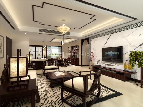 客餐厅效果图,这个方案中整个房间的面积虽大,但是客厅却不大。业主想要体现安静,舒适,儒雅的感觉。所以最后定位为简中。