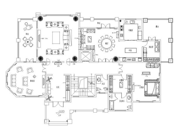 商丘虞城别墅840平中式设计-户型图