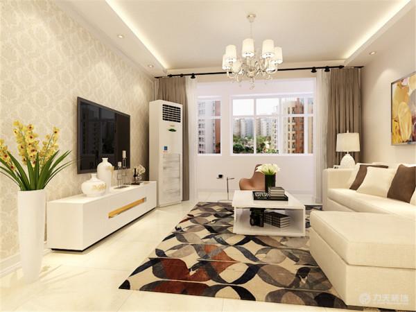 本方案两室两厅一厨一卫的居室,客厅设计采用简约明朗的线条,将空间进行了合理的分隔。顶面采用平行灯带,增加了空间感,壁纸和墙面采用暖色的壁纸和墙漆,让业主可以释放工作中的压力,得到纯粹的放松。