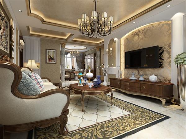 客厅顶面的造型采用的是内圈金线,顶面贴金箔,透露出奢华的气息,