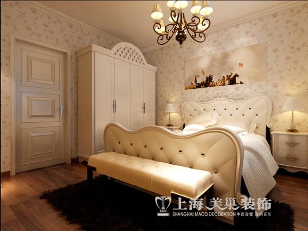 建业森林半岛装修160平简欧四室效果图——卧室全景
