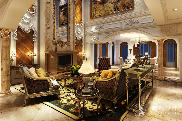 逸林湾 别墅装修 别墅设计 欧式古典风 腾龙设计 龚之涵作品 客厅图片图片