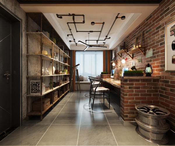 开放式书房用水管书架和原木书桌,使得工业革命十的感觉更强。