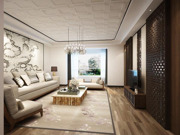 客厅电视背景墙,简洁明快,中式元素的镂空花格搭配现代质感的布艺家具,共同营造出高雅贵气的会客氛围。