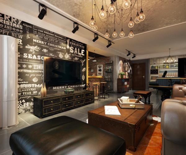 电视墙运用纽约街头的感觉,黑色墙面、涂鸦花纹,感觉自由随意。