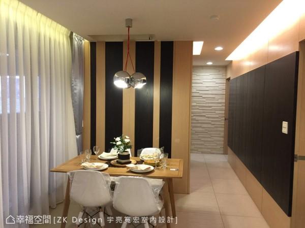 实木餐桌搭配柔美光氛,衬托出温馨雅致的用餐情调。