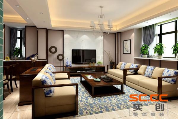 客厅整个空间用富含的青花做点缀,青花作品用其简练的夸张多变装饰手法以及精炼概括的纹样处理,表现出来一场丰富的艺术形式 书房白色的书柜,配上绿色植物的点缀,使空间更自然,舒适