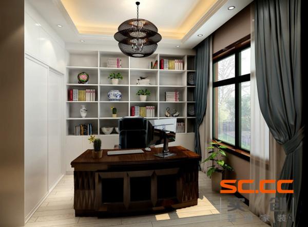 书房白色的书柜,配上绿色植物的点缀,使空间更自然,舒适