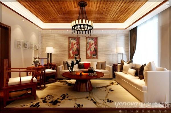 太原业之峰装饰    红叶豪庭-220.00㎡-新中式风格效果图  13643415037