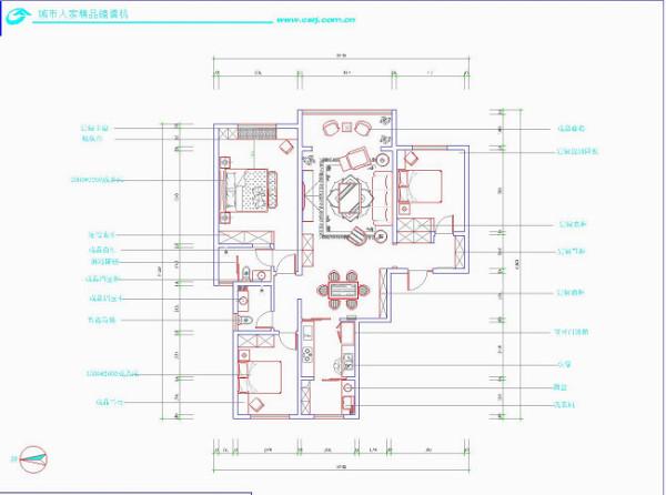 保利拉菲公馆140平米装修设计 欧式田园风格  平面布置图