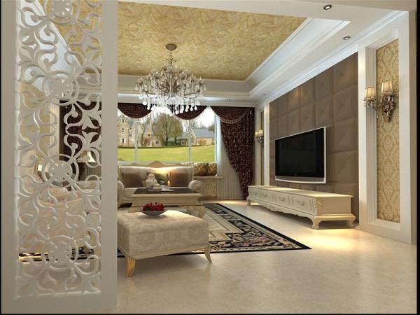 生活家装饰--白领公寓130平米三居欧式风格客厅装修效果图