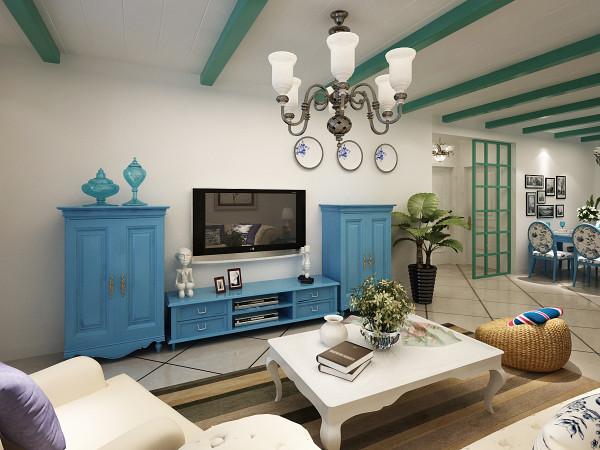 """客厅电视背景墙, 当然,设计元素不能简单拼凑,必须有贯穿其中的风格灵魂。地中海风格的灵魂,比较一致的看法就是""""蔚蓝色的浪漫情怀,海天一色、艳阳高照的纯美自然。"""