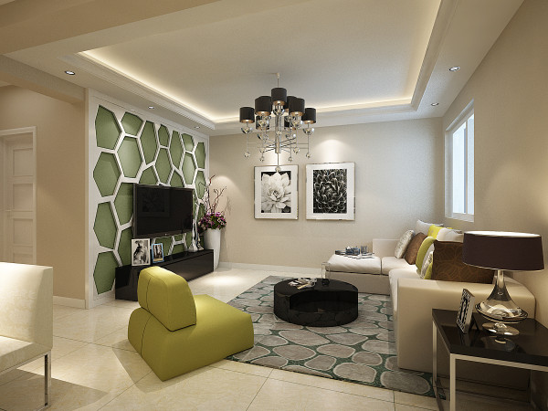 客厅,暖色的墙面加之柔软的沙发和淡绿色的软包与地面浅色地砖的整体搭配彰显出现代简约的明快色调突出个性自然的客厅。