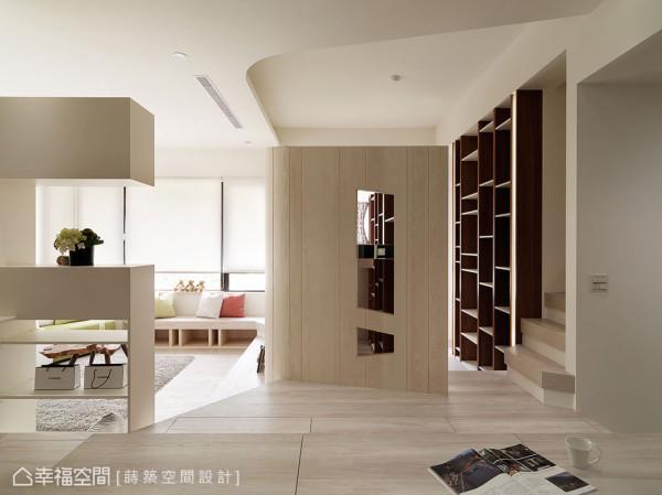 空间内以高地落差的地景层次变化做为设计主轴,莳筑空间设计贴心的在每段阶梯安装可变化不同灯色的LED灯,也可做为夜灯提升居家的安全性。