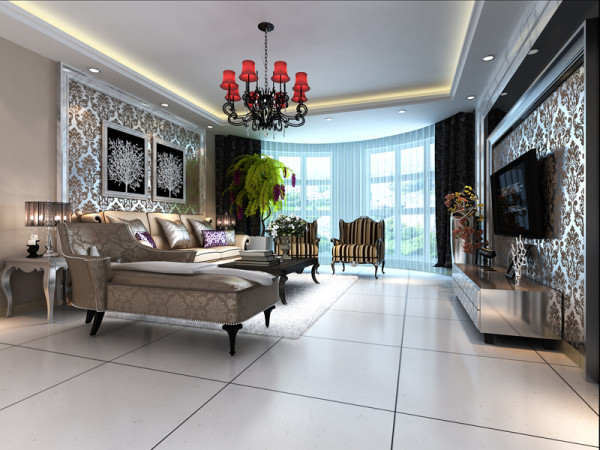 生活家装饰--日光清城160平米四居现代欧式风格客厅装修效果图