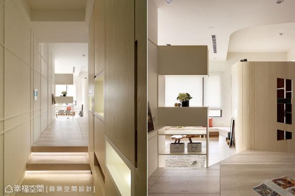 架高的木地板划分出玄关与室内的界线,并运用客厅的收纳柜做为玄关的入门端景,化解川堂煞的风水问题。