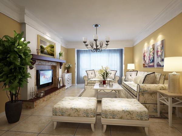 利用仿文化石打造的壁炉样式的电视背景墙引出了视觉重点。清爽的原木色泽为空间带来了自然的气息,天花的表现以欧式石膏线来塑造空间专属的场域,让田园风的室内空间具有了独属于它的设计之感。
