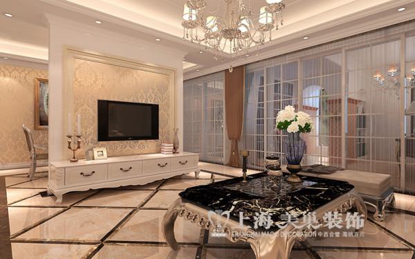 鑫苑世家四居室简欧风格装修效果图——客厅电视背景墙
