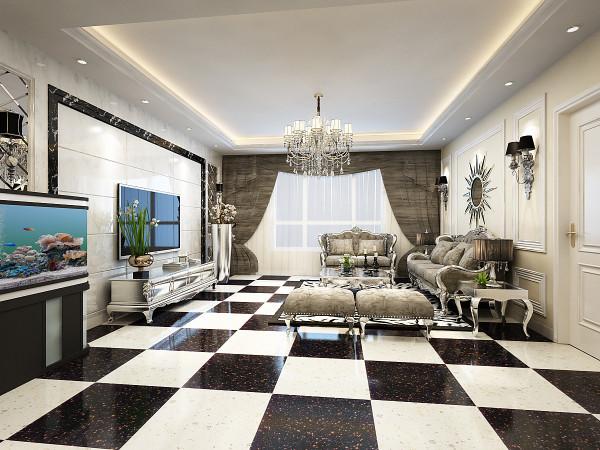 客厅采用了黑白拼接的瓷砖,拼接大理石的电视背景墙,银色的欧式家具以及华丽的水晶灯空间的的氛围感油然而生,整个空间显得大气而典雅又不冲突,搭配大胆又新颖,艺术气息浓重,华丽中又不失时尚的氛围!