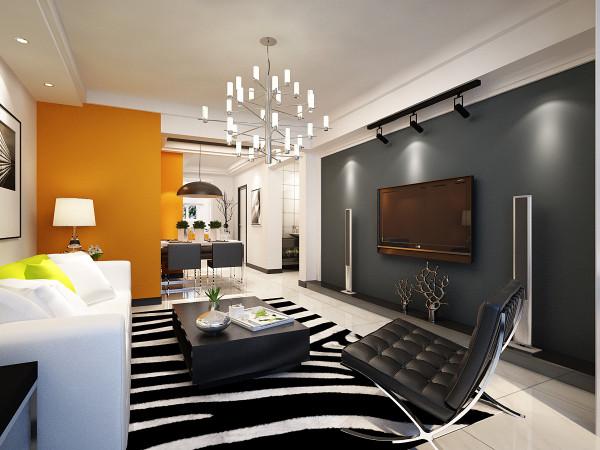 对家的期望,正是一种舒适,安逸的满足感。电视墙的黑色可以使空间更加安静,同时也增加了时尚感。与餐厅热烈的颜色形成对比,不会显得单调、冷清。