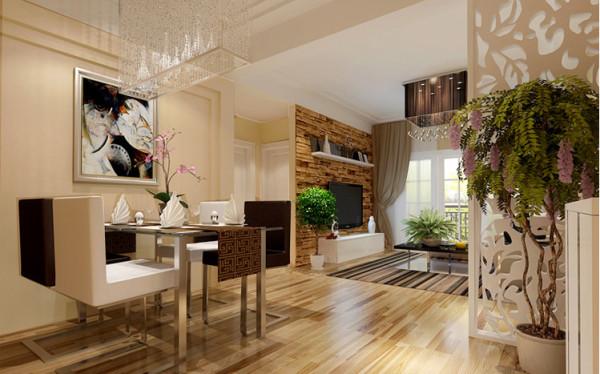 餐厅的设计体现了简约的格调,整个墙面的装饰都力求凸显出简约的风格,餐桌上摆放精致的餐具和美好的新鲜花束,营造出一个良好的就餐氛围。