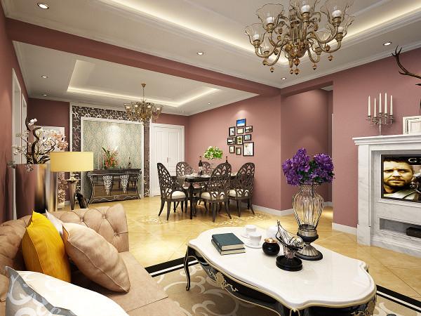 客厅沙发墙面采用丹麦福乐阁彩色涂料滚涂的手法,使墙面拥有自然鲜活的视觉效果再配上简单的照片背景墙,让整个餐厅背景显得典雅清新。