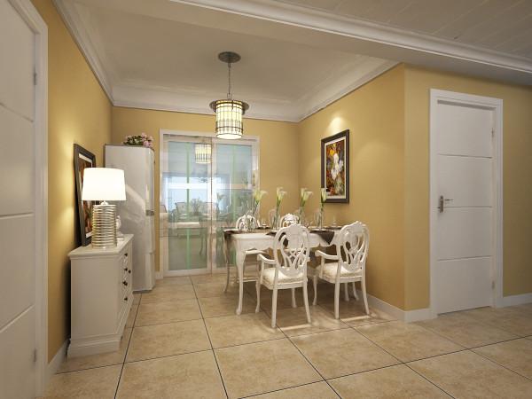 白色欧式家具突出和整个室内风格相呼应,因为餐厅本身与客厅贯通,所以不需要太过繁杂的修饰,让整个空间有承上启下的主次之分。