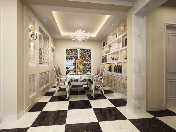 餐厅采用了镜面设计,这样对整个餐厅增加了空间感,使整个餐饮区明亮大气,还有匠心独用的酒柜设计提升生活品味的同时,又不失空间的整体感官。让餐厅展现出它应有的风采。