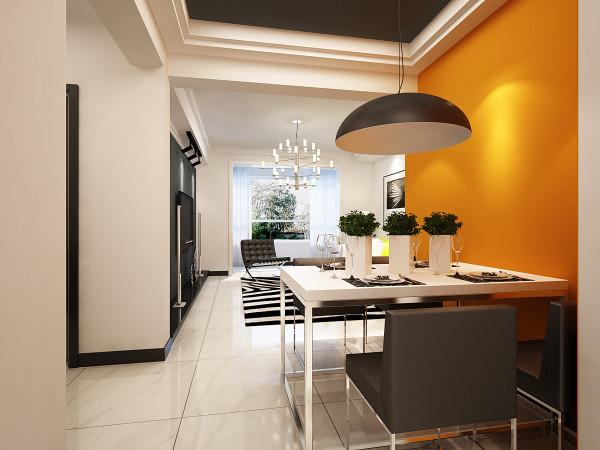 餐厅则选择了比较有视觉感强的橘黄色,橘黄色的使用可以使人在就餐的时候更加有食欲也可以使人精神愉悦,白色的餐桌以及材质粗狂的吊灯又给餐厅带来不一样的感受,达到人暖,心暖,食物暖的温馨效果