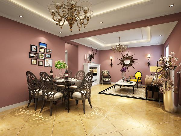 电视客厅作为待客区域,同时较其它空间更明快光鲜,使用大量的铁艺饰品和木饰面装饰;呈现带有贵气的历史感,与现代生活的奢华感。总体而言,明快而富有历史贵族气息是欧式风格客厅区的特点。