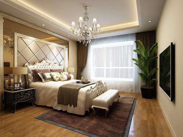 卧室采用了木色的地板,欧式的床榻,软包的床头和镜面拼接的背景墙,舒适而又华丽,总能给人一种舒适的感觉,一种贵族的气息,因为欧洲文化的深厚底蕴才使得欧式风格高贵而艺术气息浓重。