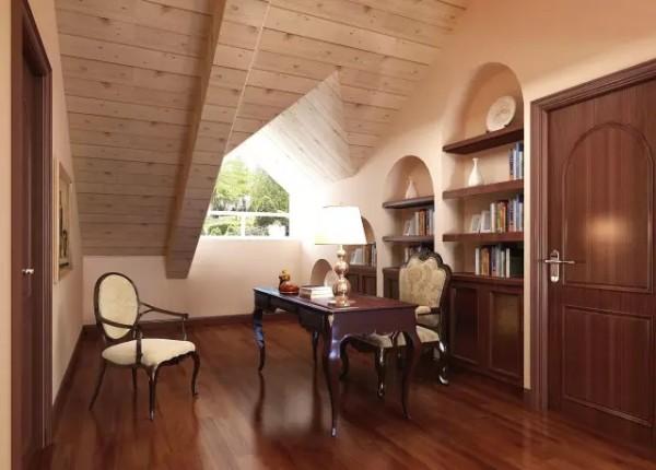 书房采用嵌入式书柜,利用衣帽间的一面墙使空间整体性更强。应对木质吊顶而选用了木地板和木质家具,培养出书房内所应有的书香气息和沉稳气质。是品质与底蕴的象征。