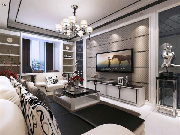 本案的设计还根据了业主的喜好融入其中。首先在整个装饰装修中客厅永远是比较着重表现的,客厅的设计采用了现代的黑白灰的感觉,电视背景墙的两边采用了黑色镜面镶嵌着中间的灰色硬包