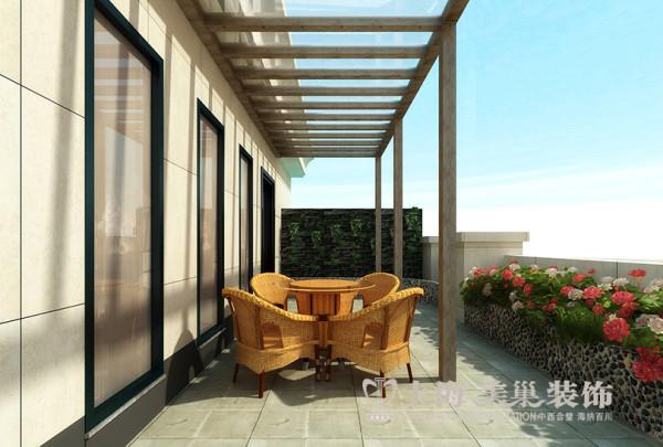 民安北郡四居室新中式装修效果图——露台