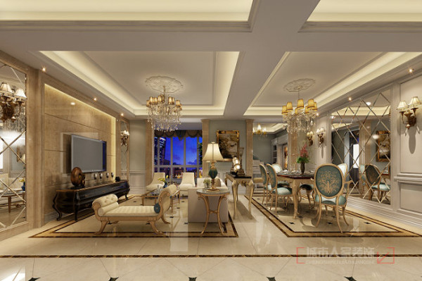 华侨城天鹅堡150平米欧式装修 客餐厅整体