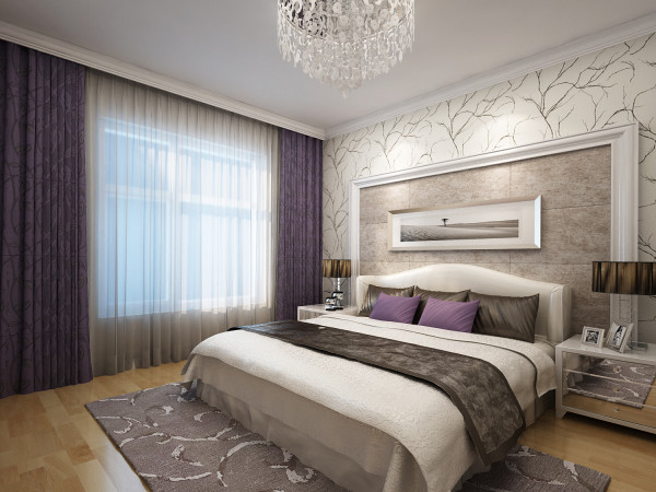 整个空间简单大气,白色花纹壁纸加上紫灰色窗帘,给人清新淡雅的舒适感,背景墙硬包的设计为整个空间增添一份时尚的气息。