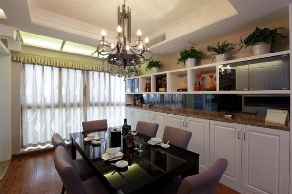 中登悦园现代风格三居室餐厅效果图