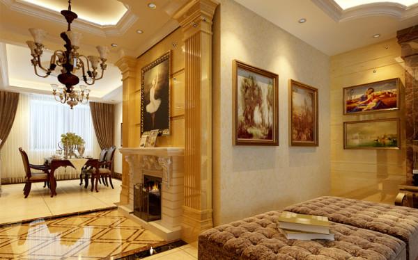 玄关处设计一个欧式壁炉,同时两边配上罗马柱 ,再挂一副欧洲宫廷油画。这个搭配形成家中第一个亮点,让所以人一进屋就能看到如此豪华的亮点。这无疑将主人的品味展现的淋漓尽致。