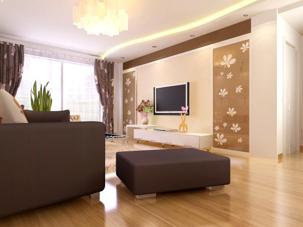 整屋以米色为主色调,沙发背景墙浅色系简约壁纸做点缀,使空间更加大气有不失高雅。 电视背景墙采用对称手法,两遍雕花玻璃使空间充满时尚感