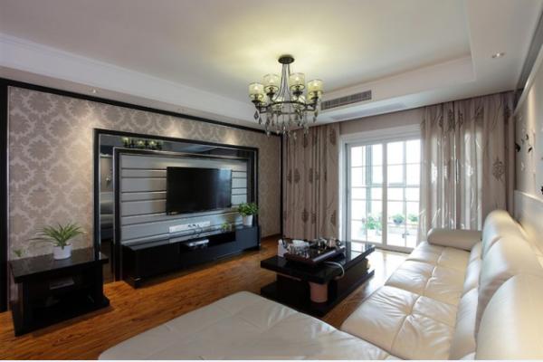 中登悦园现代风格三居室客厅效果图