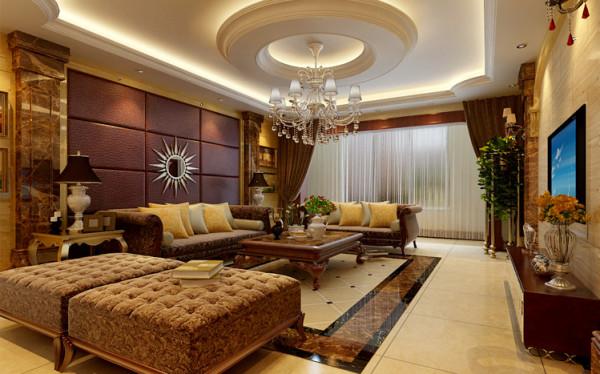 沙发背景墙皮质硬包,搭配石材罗马柱,再用稍许镜面做为点睛之笔。同时石材的电视背景墙也与之互相照应。这些都将客厅的档次大大提高,体现出客厅的大气奢华。
