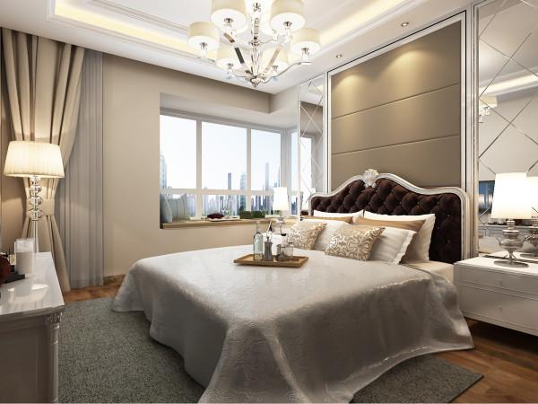 卧室采用银镜饰面,彰显业主的时尚品味。设计师以奢侈华丽的格调贯穿于空间的每一个细节中,完美的呈现现代欧式的精髓。