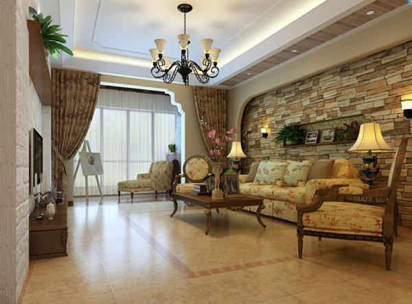 生活家装饰--八仙别墅四居220平米美式乡村客厅装修效果图