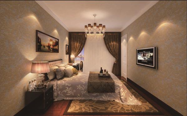 卧室设计: 结合福乐阁墙漆的色彩感与壁纸辉映形成床头背景,搭配窗帘的软装配饰使整个空间优雅而温馨