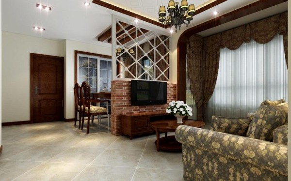 客厅设计: 本案为美式乡村风格,以自然色调为主,式样厚重的复古家具,别致的暗藏鞋柜,复古油画相衬。