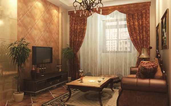 客厅设计: 电视背景墙采用软包与石材相结合的搭配突出现代感