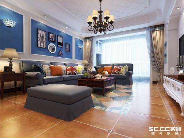 设计理念沙发背景墙以浓浓的地中海蓝为基调,加以贝壳壁灯为点缀,蓝白图片